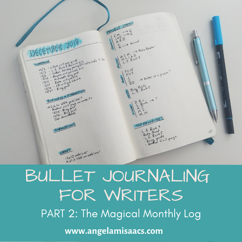 Bullet Journaling for Writers Part 2: The Magical Monthly Spread