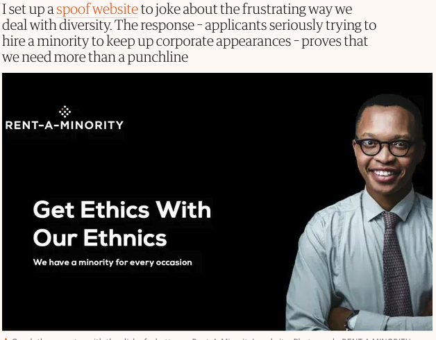 """I set up a spoof website to joke about the frustrating way we deal with diversity. The response - applicants seriously trying to hire a minority to keep up corporate appearances - proves that we need more than a punchline."""